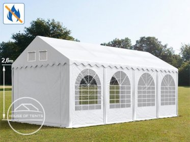 4x8m 2.6m Sides Marquee / Party Tent w. ground frame, PVC 550 g/m² fire resistant, white