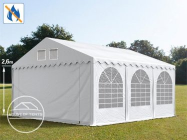 5x6m 2.6m Sides Marquee / Party Tent w. ground frame, PVC 550 g/m² fire resistant, white