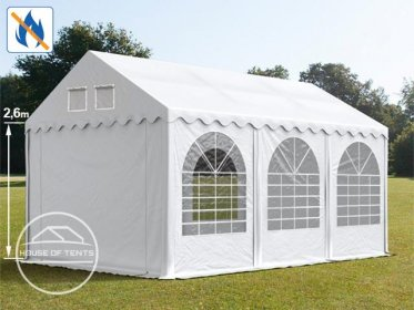 4x6m 2.6m Sides Marquee / Party Tent w. ground frame, PVC 550 g/m² fire resistant, white