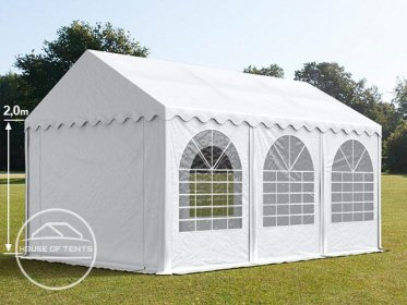 4x6m Marquee / Party Tent w. Groundbar, PVC 550 g/m², white