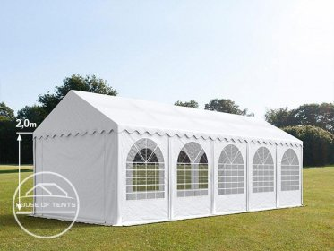4x10m Marquee / Party Tent w. Groundbar, PVC 550 g/m², white
