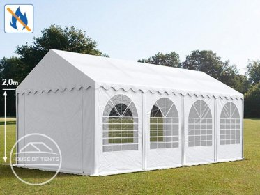 4x8m Marquee / Party Tent w. ground frame, PVC 550 g/m² fire resistant, white