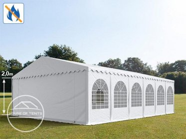 8x12m Marquee / Party Tent w. ground frame, PVC 550 g/m² fire resistant, white