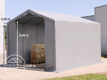 3x6m - 3.0m Sides PVC Industrial Tent with zipper entrance, PVC 550 g/m²