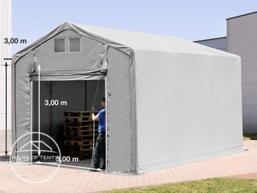4x6m - 3.0m Sides PVC Industrial Tent with pull-up gate, PVC 550 g/m²