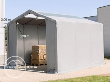 4x6m - 3.0m Sides PVC Industrial Tent with zipper entrance and skylights, PVC 550 g/m²