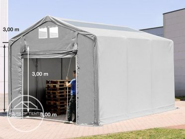 4x6m - 3.0m Sides PVC Industrial Tent with pull-up gate and skylights, PVC 550 g/m²