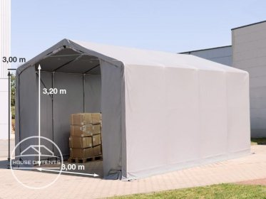 4x8m - 3.0m Sides PVC Industrial Tent with zipper entrance, PVC 550 g/m²