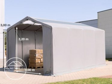 4x8m - 3.0m Sides PVC Industrial Tent with zipper entrance and skylights, PVC 550 g/m²