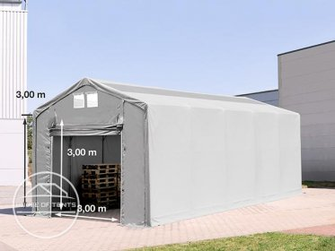 4x10m - 3.0m Sides PVC Industrial Tent with pull-up gate and skylights, PVC 550 g/m²