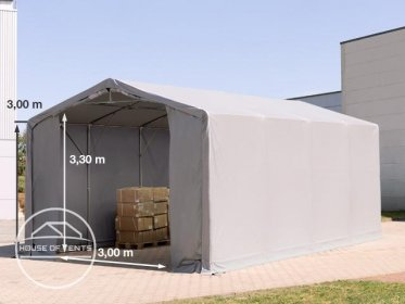 5x8m - 3.0m Sides PVC Industrial Tent with zipper entrance, PVC 550 g/m²