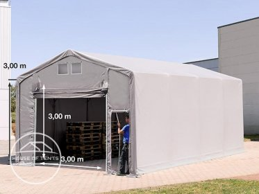 5x8m - 3.0m Sides PVC Industrial Tent with pull-up gate, PVC 550 g/m²