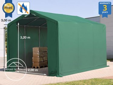 3x6m - 3.0m Sides Industrial Tent with zipper entrance, PVC 720 g/m² fire resistant