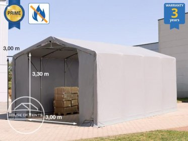 5x8m - 3.0m Sides Industrial Tent with zipper entrance, PVC 720 g/m² fire resistant