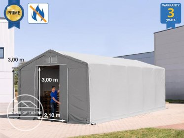 5x10m - 3.0m Sides Industrial Tent with sliding door, PVC 720 g/m² fire resistant