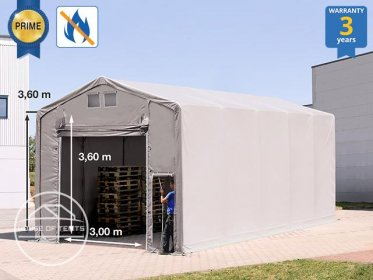 5x10m - 3.6m Sides Industrial Tent with pull-up gate, PVC 720 g/m² fire resistant