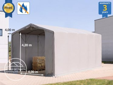 5x10m - 4.0m Sides Industrial Tent with zipper entrance, PVC 720 g/m² fire resistant
