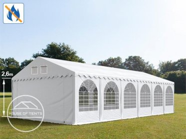 6x12m 2.6m Sides Marquee / Party Tent w. ground frame, PVC 550 g/m² fire resistant, white