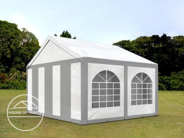 3x4m Marquee / Party Tent, PE 240 g/m², grey-white