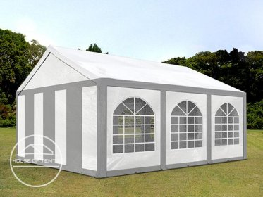 4x6m Marquee / Party Tent, PE 240 g/m², grey-white