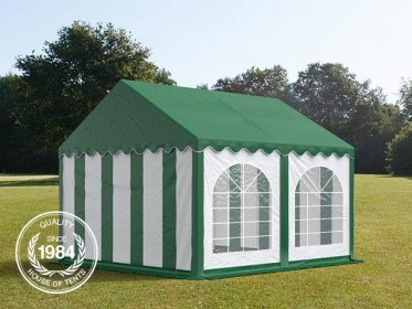 4x4m Marquee / Party Tent w. Groundbar, PVC 500 g/m², green-white
