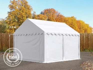 4x4m Storage Tent / Shelter w. Groundbar, PVC 500 g/m², white