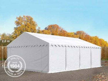6x8m Storage Tent / Shelter w. Groundbar, PVC 500 g/m², white