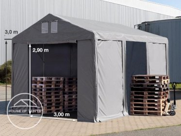 4x6m 3.0m Sides Storage Tent / Shelter w. Groundbar and zipper entrance, marquee PVC