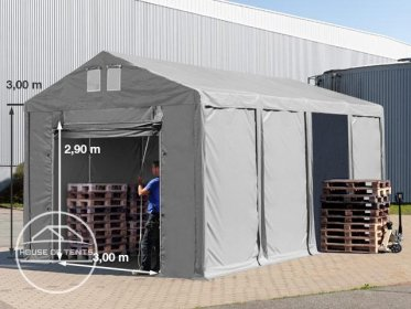 4x8m 3.0m Sides Storage Tent / Shelter w. Groundbar and pull-up gate, marquee PVC