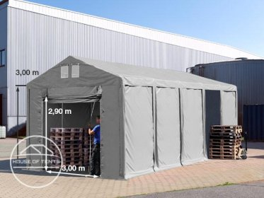 4x10m 3.0m Sides Storage Tent / Shelter w. Groundbar and pull-up gate, marquee PVC