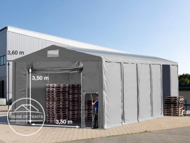8x12m 3.6m Sides Storage Tent / Shelter w. Groundbar, pull-up gate and skylights, marquee PVC
