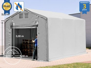 4x6m - 3.0m Sides Industrial Tent with pull-up gate, PVC 720 g/m² fire resistant