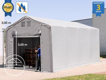 4x8m - 3.0m Sides Industrial Tent with pull-up gate, PVC 720 g/m² fire resistant