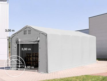 4x12m - 3.0m Sides PVC Industrial Tent with pull-up gate, PVC 550 g/m²