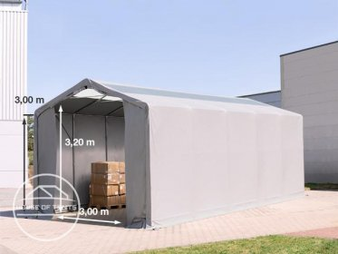4x12m - 3.0m Sides PVC Industrial Tent with zipper entrance and skylights, PVC 550 g/m²