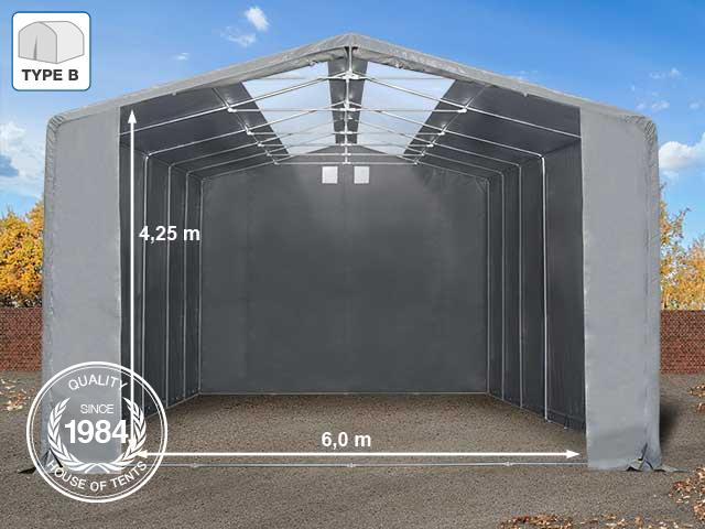 8x10m 4m Sides Storage Tent / Shelter w. Groundbar and Skylights, PVC 550 g/m², 6x4.25m Drive Through, grey