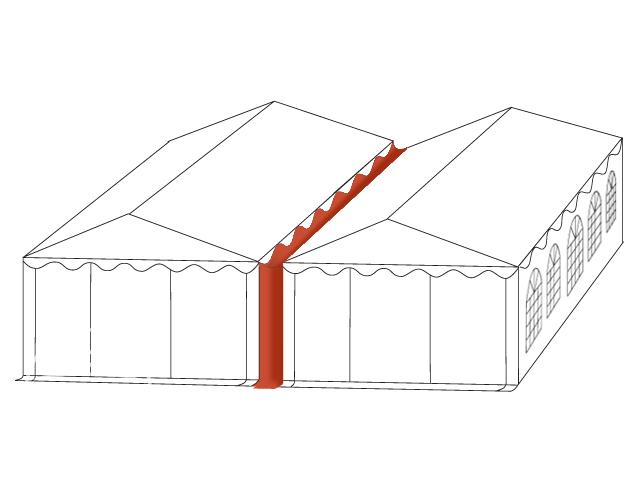 Connection Gutter / Rain Gutter for 10m wide Tents (2m Side Height), white