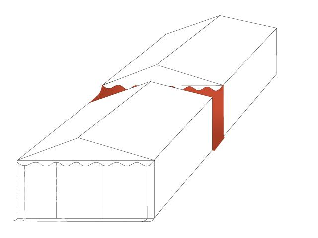 Connection Gutter / Rain Gutter for 8m wide Tents (3m Side Height), white