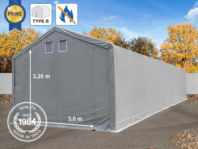 4x22m 3m Sides Storage Tent / Shelter w. Groundbar, 3x3.2m Drive Through, PVC 720 g/m² fire resistant, grey