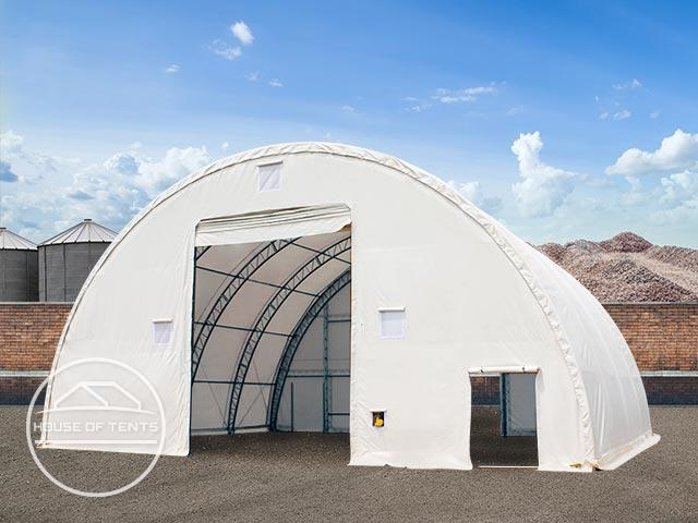 12,2x12m 4,73x5,3m Drive Through Arched Storage Tent / Hangar Silo Shelter, Double Truss, PVC 720 g/m² fire resistant, white