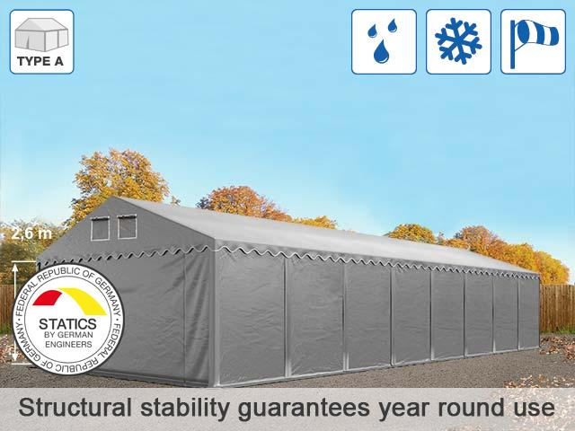 5x20m 2.6m Sides PVC Industrial Tent, grey