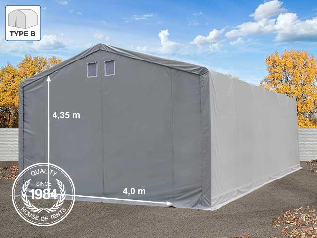 6x12m 4m Sides Storage Tent / Shelter w. Groundbar, PVC 550 g/m², 4x4.35m Drive Through, grey