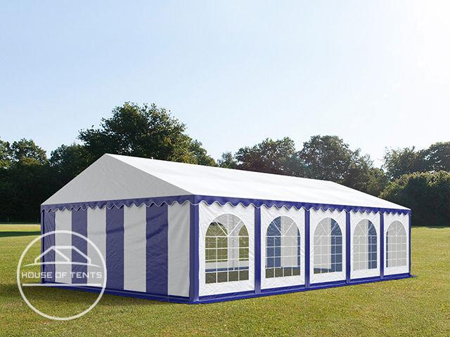 5x10m Marquee / Party Tent w. Groundbar, PVC 500 g/m², blue-white