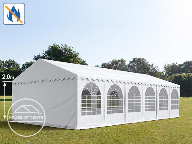 6x12m Marquee / Party Tent w. Groundbar, PVC 550 g/m² fire resistant, white