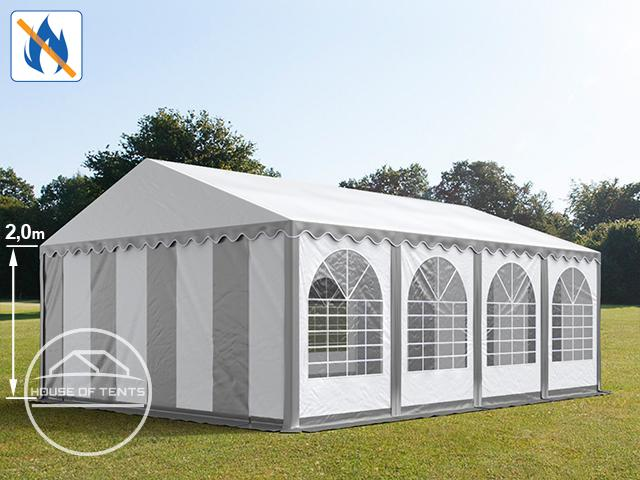 6x8 m Marquee / Party Tent w. Groundbar, PVC 550 g/m² fire resistant, grey-white