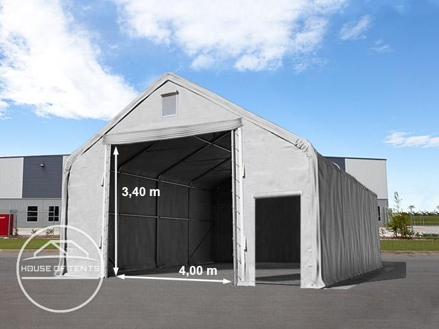 8x12m 4x3.4m Drive Through Industrial Tent, PVC 720g/m² fire resistant grey | with statics (ground: soil)