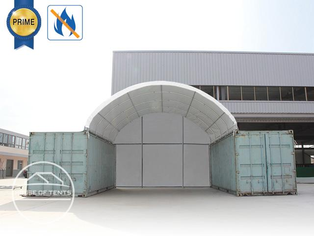 Rear wall for container roofing 8m width, PVC 720g / m² fireproof, white