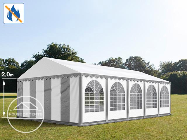 6x10m Marquee / Party Tent w. ground frame, PVC 550 g/m² fire resistant, grey-white