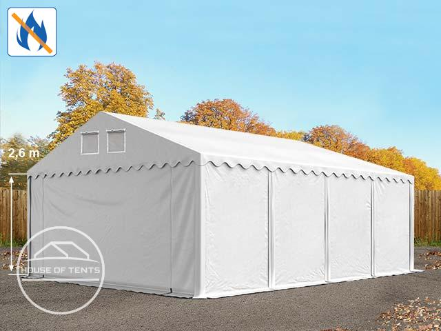 6x8m 2.6m Sides Storage Tent / Shelter w. ground frame, PVC 550 g/m² fire resistant white | with statics (ground: soil)