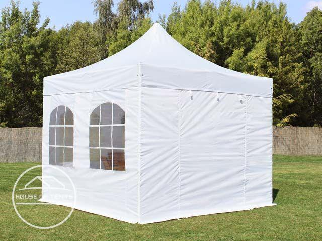 3x3m PES PopUp Gazebo / Canopy PREMIUM Steel incl. Sidewalls, with Windows, white